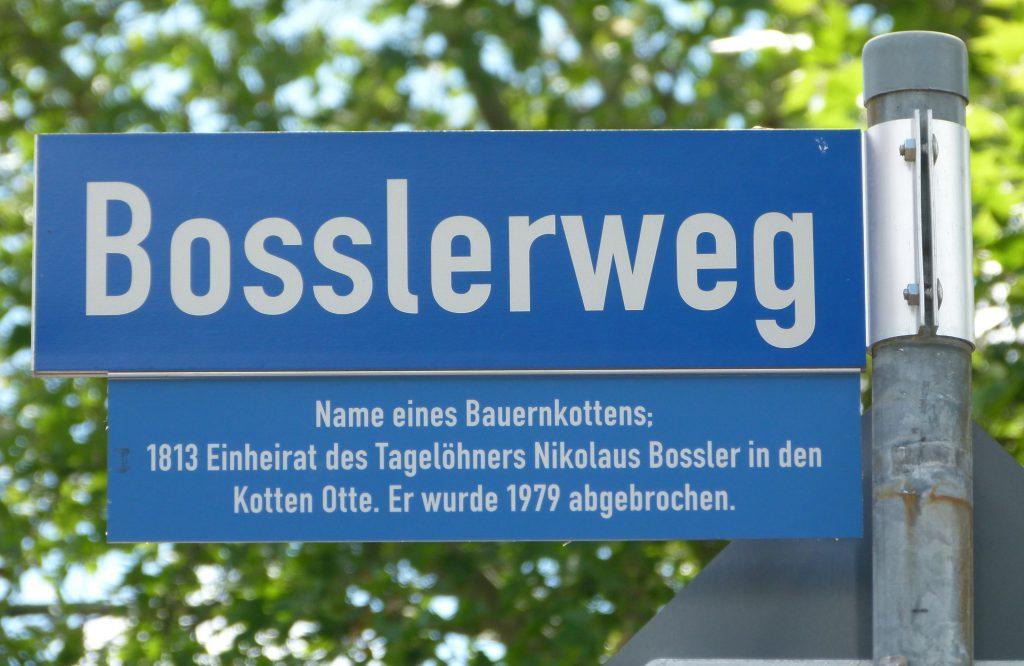 Straßennamen Bosslerweg